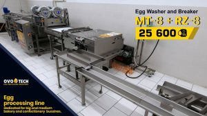 OVO-TECH MT-8 egg washer and RZ-8 egg breaker in a line setup
